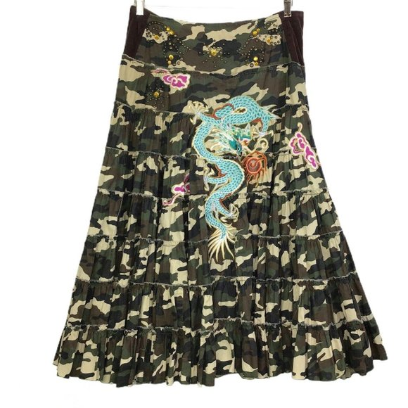 Miss Me Camouflage Skirt Embroidered Dragon Midi